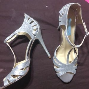 Silver Betsey Johnson heels with a blue platform